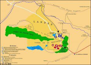 Carte de la bataille de Saint Aubin du Cormier par Yann Kez.